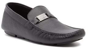 Roberto Cavalli Buckle Pebbled Leather Moc Loafer