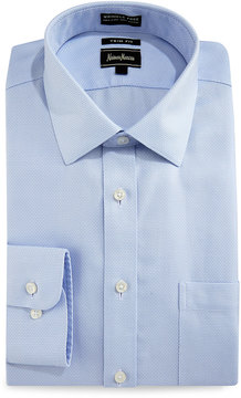 Neiman Marcus Trim-Fit Wrinkle-Free Dobby Check Dress Shirt, Light Blue