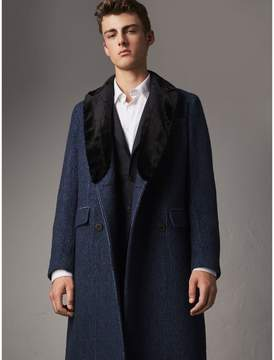 Burberry Detachable Fur Collar Alpaca Wool Double-breasted Coat