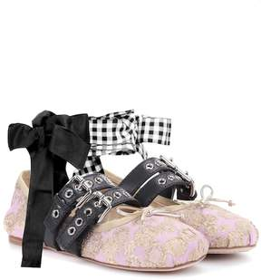 Miu Miu Buckle-embellished brocade ballerinas