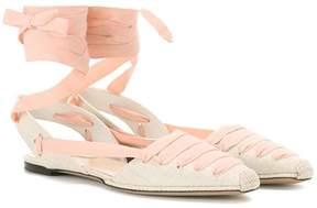 Altuzarra D'Orsay canvas ballerinas
