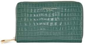 Aspinal of London Midi Continental Clutch Zip Wallet In Deep Shine Sage Small Croc