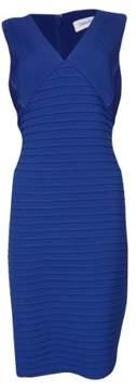 Calvin Klein Women's Textured Pintucked V-Neck Jersey Dress