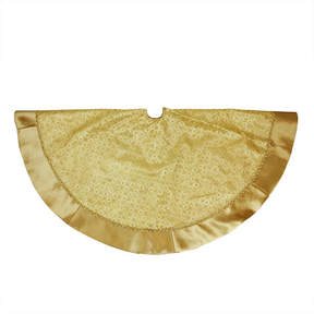 Asstd National Brand 48 Gold Glitter Star Print Christmas Tree Skirt with Decorative Metallic Trim and Velveteen Border