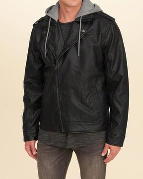 Hollister Vegan Leather Hooded Moto Jacket