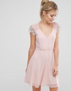Elise Ryan Lace Mini Skater Dress