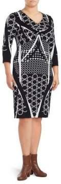 Basler Printed V-Neck Sheath Dress