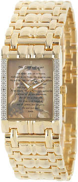 JCPenney FINE JEWELRY Personalized Mens Diamond-Accent Gold-Tone The Lords Prayer Watch