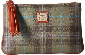 Dooney & Bourke Tiverton Carrington Pouch Handbags - CRANBERRY/TAN TRIM - STYLE