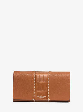 Michael Kors Rogers Grained-Leather Continental Wallet - BROWN - STYLE