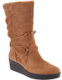 Halston H by Suede Wedge Boots with Faux Fur -Liz