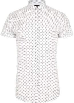 River Island Mens White polka dot short sleeve slim fit shirt