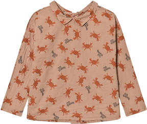 Bobo Choses Orange Crab Your Hands Buttons Blouse