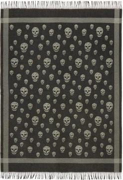 Alexander McQueen Black and Grey Skull Blanket Scarf