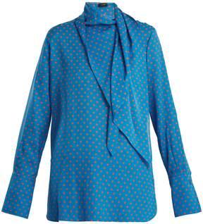 Joseph Geoff polka-dot print tie-neck silk blouse