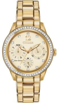 Citizen Silhouette Crystal FD2012-52P Gold Analog Eco-Drive Women's Watch