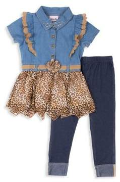 Little Lass Baby Girl's Denim & Chettah Print Top and Pant Set