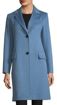 Fleurette Modern Notched-Collar Two-Button Wool Reefer Coat