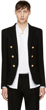 Balmain Black Jersey Six-Button Blazer