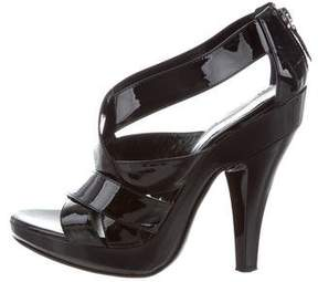 Burberry Patent Leather Crossover Sandals