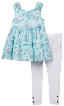 Calvin Klein Floral Georgette Tunic & Leggings Set (Little Girls)