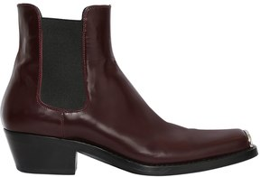 Calvin Klein Metal Toe Leather Chelsea Boots