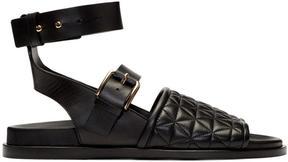 Balmain Black Quilted Achille Sandals