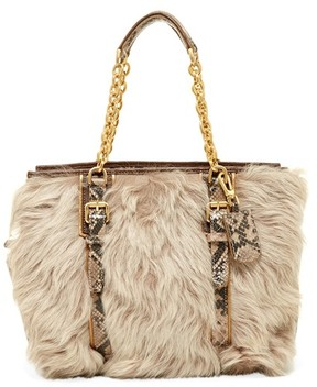 Longchamp More Is More Genuine Lamb Fur & Leather Shoulder Bag - CLAY - STYLE