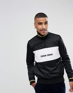 Criminal Damage Sweatshirt In Black With Half Zip Funnel Neck