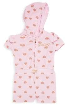 Juicy Couture Baby's Heart-Print Hooded Romper