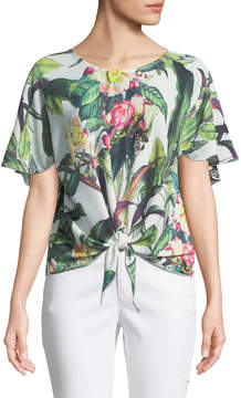 Alberto Makali Tie-Front Tropic-Floral Tee