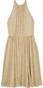 Halston Metallic Lurex Mini Dress - Gold
