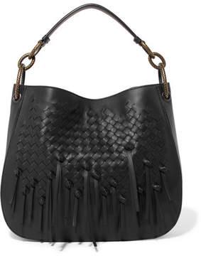 Bottega Veneta Small Fringed Intrecciato Leather Tote - Black