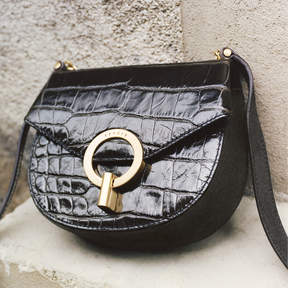 Sandro Pepita embossed leather bag, small model