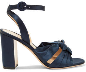 Gianvito Rossi Loren 85 Knotted Satin Sandals - Midnight blue