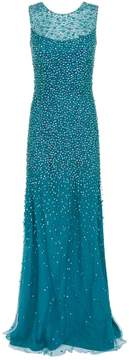 Blue Assana Embellished Tulle Sleeveless Gown