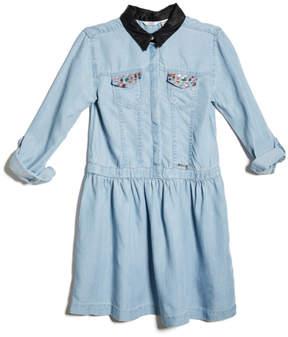 GUESS Long-Sleeve Chambray Skater Dress (7-14)