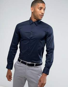 Benetton Slim Fit Shirt With Stretch In Navy