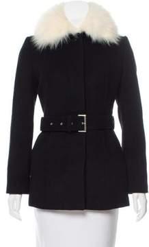 Courreges Fur-Trimmed Belted Coat