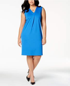 Kasper Plus Size Pleated Sheath Dress