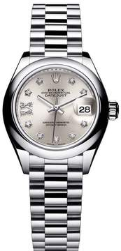 Rolex Lady-Datejust 28 Silver Dial Platinum President Automatic Ladies Watch