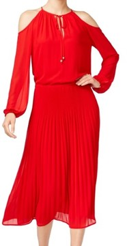 MICHAEL Michael Kors Womens Pleated Long Sleeves Casual Dress
