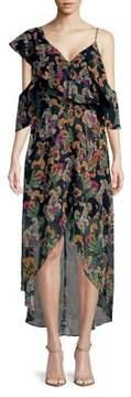 Adelyn Rae Off-Shoulder Ruffle Floral Chiffon Dress