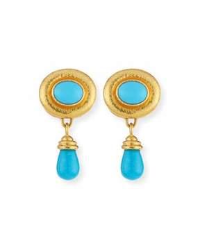Elizabeth Locke Convertible Turquoise Godron Earrings with Detachable Briolette Drop