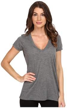 Alternative Melange Burnout Jersey Slinky V-Neck Women's Clothing
