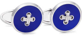 Dunhill Button Sterling Silver Enamel Cufflinks