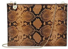 Aspinal of London Soho Clutch In Mustard Python Print
