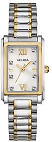 Bulova Women's Stainless Steel Two-Tone CrystalBracelet Watch