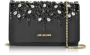 Love Moschino Satin and Crystals Evening Clutch w/Chain