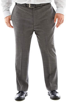 Claiborne Black & White Nailhead Flat-Front Suit Pants-Big & Tall